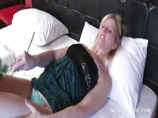 blond aged seductress making out with legal age