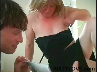 chubby, breasty mature blond mommy receives