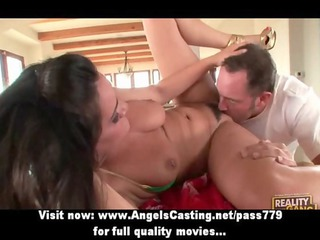cute brunette hair mother i does oral job and has