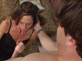 slender aged brunette sherry wyne gets her face