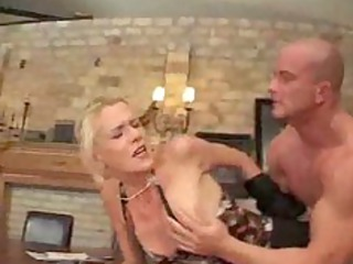 thin milf fucked right into an asshole on table