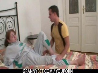 injured granny takes it is from behind