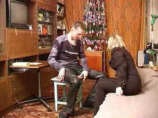russian mature male copulates her son`s most good