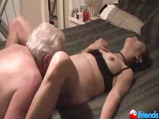 aged pair while she is screams with pleasure