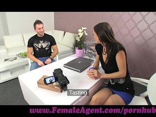 femaleagent. cum on my tits or elave my agency