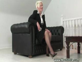 older lady shows her nasty lingerie