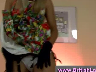 older british lady dresses juvenile blonde in