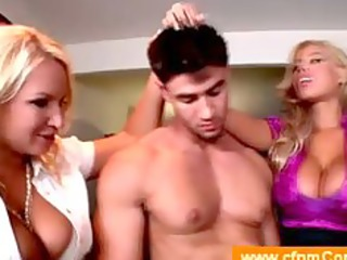 cougar coaches her ally in threesome