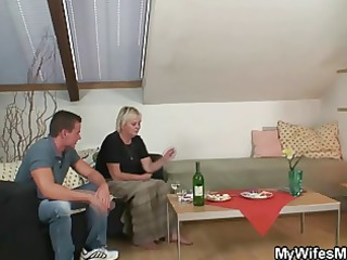wife comes in and sees him fucking her mommy