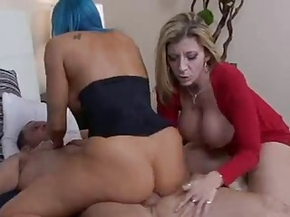 aged busty sweethearts share a cock