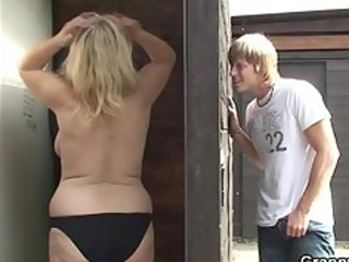 old whore blows and bonks him in the public