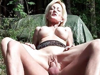 breasty golden-haired granny acquires screwed by
