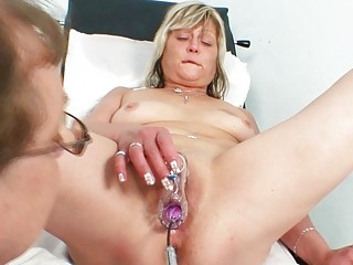 concupiscent golden-haired granny toys her love