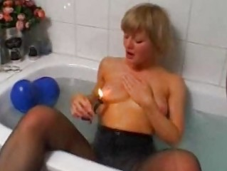 golden-haired non-professional wife toying and