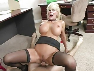 breasty blonde milf engulfing weenie and getting