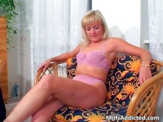 fascinating golden-haired in pink lingerie jerks