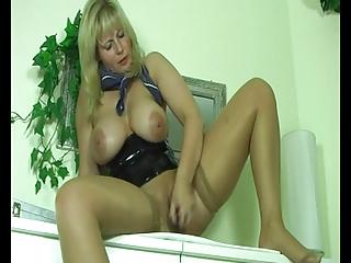 fat bulky golden-haired milf masturbating her