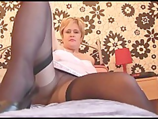 busty older honey in hose stockings and slide