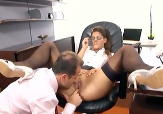 secretary with glasses having sex in nylons and