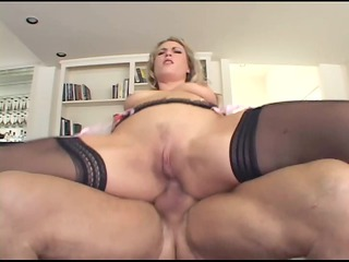 blond has perverted anal sex in haunch high nylons