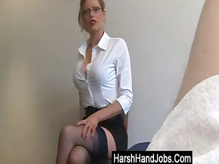 blonde secretary gives a handjob, but its not a