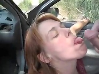 car oral-stimulation fun and sperm flow with a