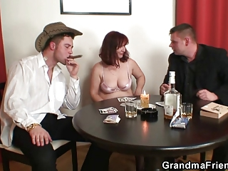 granny plays undress poker then double dicked