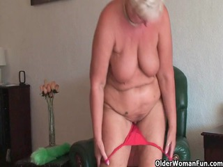 bulky granny with saggy large meatballs and