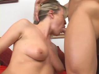 blonde sweetheart has sex in haunch high nylons