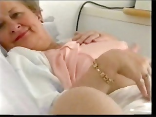 chubby old granny with saggy tits wears satin