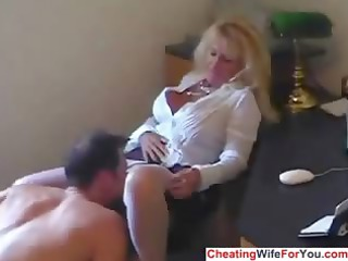 older sexy secretary drink cum