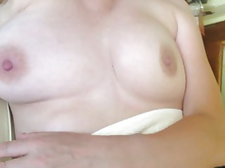 showing off and fondling wifes breasts after