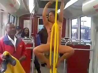 nude woman on educate screaming racial slurs