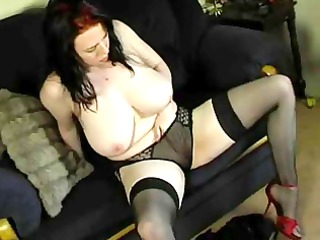 corpulent lingerie housewife masturbating on couch