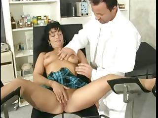 hot dark brown milf slurps on the doctors schlong