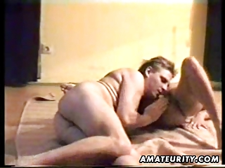 aged non-professional wife sucks and fucks with