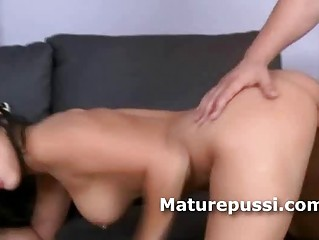 marvelous brunette hair milf fed hard pounder in