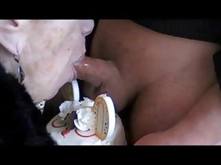 granny marg turns 72 and blows and swallows cum