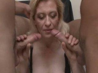 perverted older blond in wild groupsex!