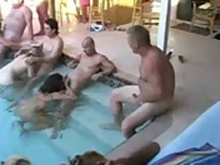 aged swinger pool party