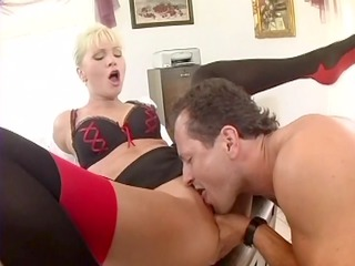 busty secretary fucked in nylons and a garter