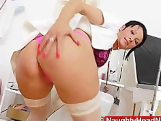 lady nurse practitioner playing with herself with