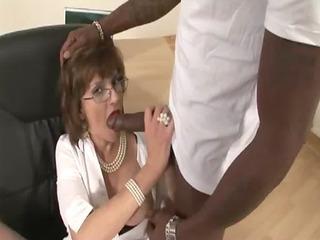 aged stocking fetish bitch darksome cock blow job
