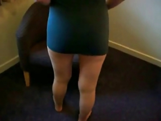 older lady putting on her tights-pantyhose d02