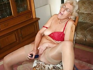 grandmom in pantyhose masturbating with sex-toy