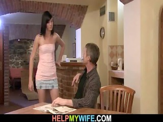 old chap watches his wife drilled