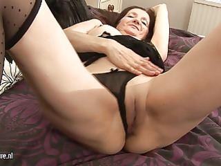 horny non-professional housewife playing with her