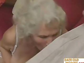 horny grandma felt up and drilled hard