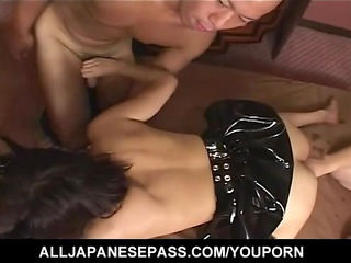 cute japanese latex bat attacks excited guys and