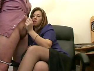 hot aged secretary jerks the ball cream from